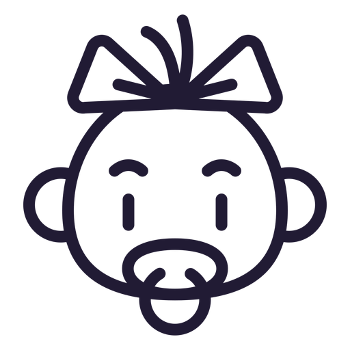 Baby girl head stroke icon Transparent PNG