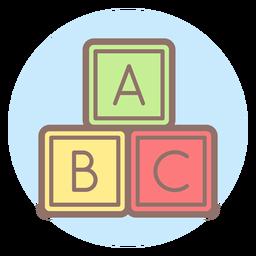 Icono de círculo de bebé letra cubos