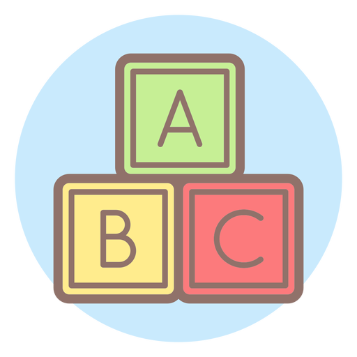 Baby letter cubes circle icon