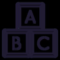 Icono de trazo de cubos de letra de bebé