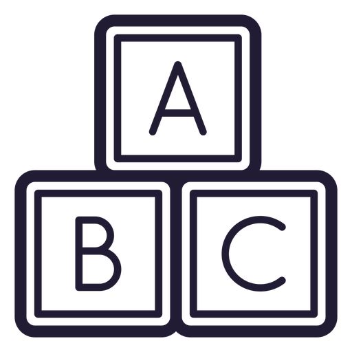 Baby letter cubes stroke icon Transparent PNG