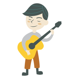 Niño tocando el personaje de música de guitarra