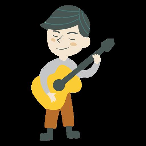 Boy playing guitar music character