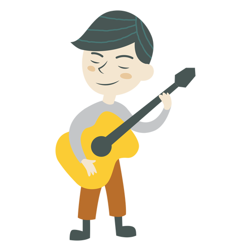 Niño tocando el personaje musical de guitarra Transparent PNG