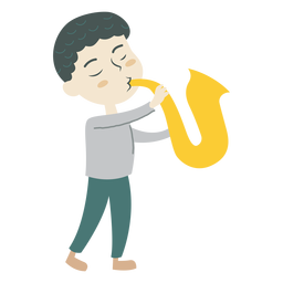 Boy playing saxophone cartoon