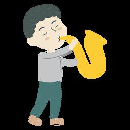 Menino, jogando saxofone, caricatura
