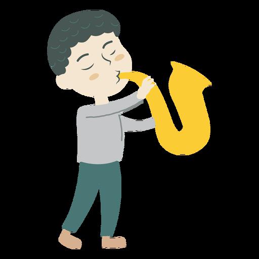 Boy playing saxophone cartoon