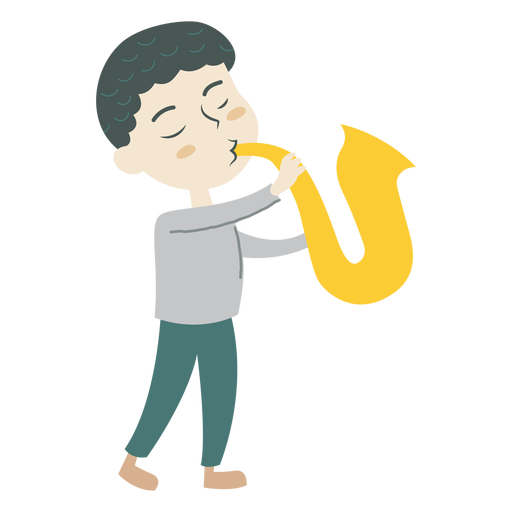 Menino, jogando saxofone, caricatura Transparent PNG