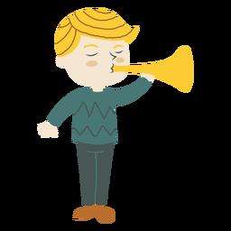 Junge, der Trompetenhornkarikatur spielt