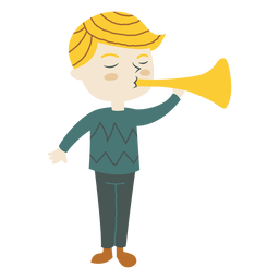 Menino, tocando, trompete, chifre, caricatura