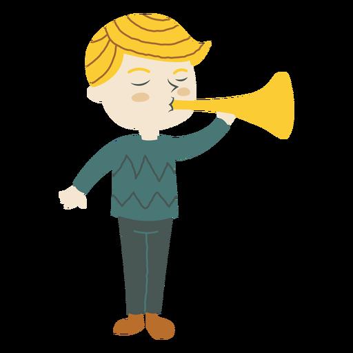 Boy playing trumpet horn cartoon Transparent PNG