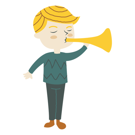 Menino, tocando, trompete, chifre, caricatura Transparent PNG