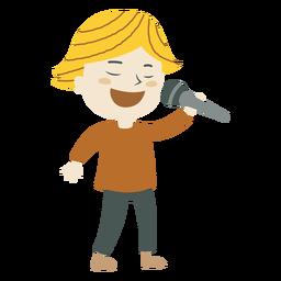 Junge, der Karikatur singt