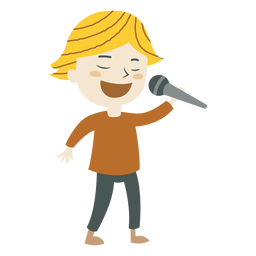 Menino, cantando, caricatura