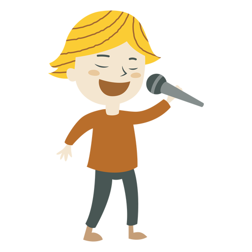 Menino, cantando, caricatura Transparent PNG