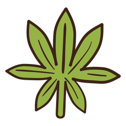 Cannabis hoja coloreada doodle