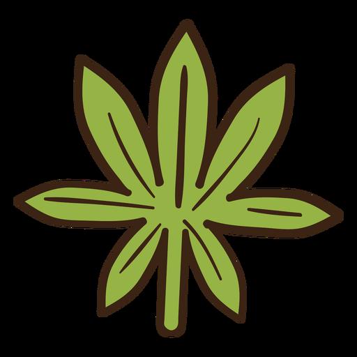 Doodle de color de hoja de cannabis