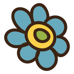 Daisy flower colored doodle