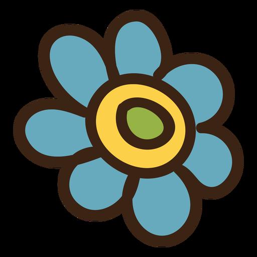 Daisy flower colored doodle Transparent PNG