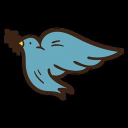 Doodle colorido de ramo de oliveira de pomba