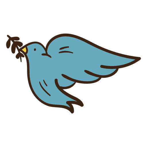 Dove olive branch colored doodle Transparent PNG