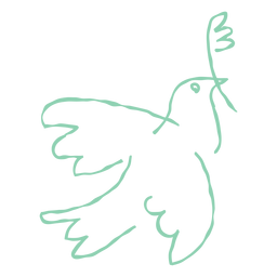 Paloma con doodle de rama de olivo