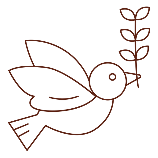 Dove with olive branch stroke Transparent PNG