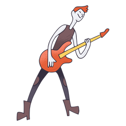 Electric guitar player cartoon