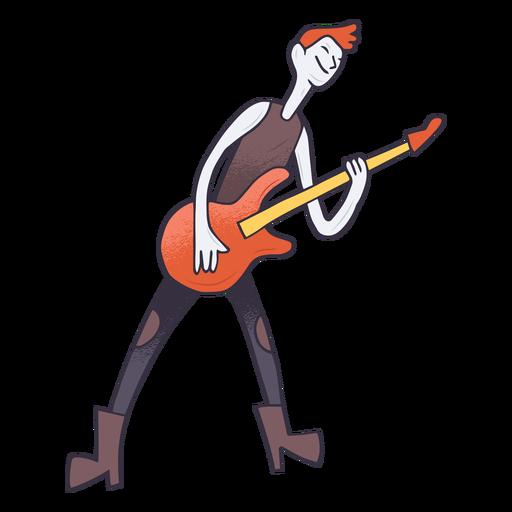 Electric guitar player cartoon Transparent PNG