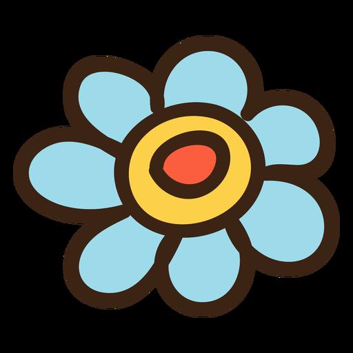 Cabeza de flor coloreada doodle Transparent PNG