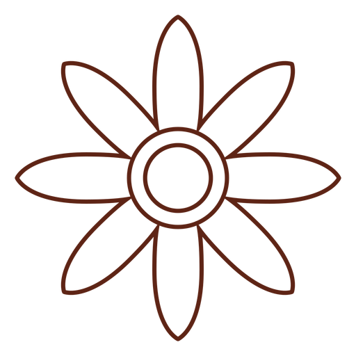 Flower hippie stroke element Transparent PNG