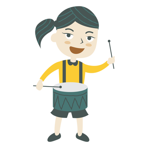 Girl playing drum Transparent PNG