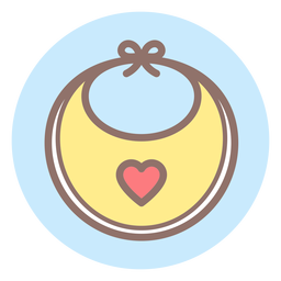 Heart baby bib circle icon