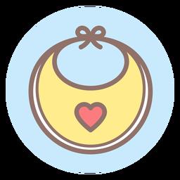 Icono de círculo de babero de bebé corazón