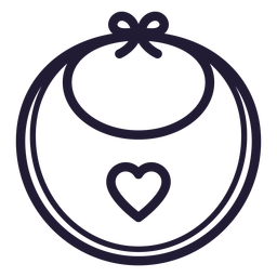 Heart baby bib stroke icon
