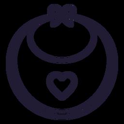 Icono de corazón bebé babero trazo
