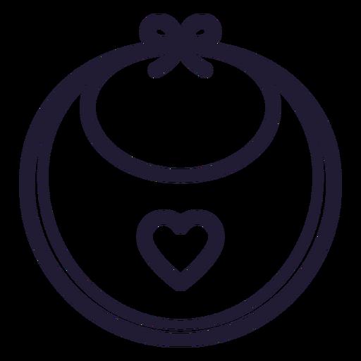 Icono de corazón bebé babero trazo Transparent PNG