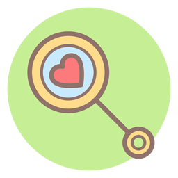 Heart baby rattle circle icon