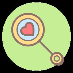Icono de círculo de corazón bebé sonajero