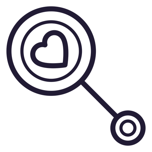 Heart baby rattle stroke icon Transparent PNG