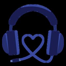 Ícone de fones de ouvido de cabo de coração