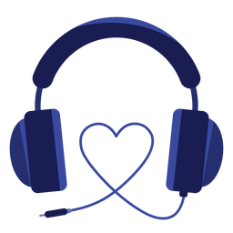 Icono de auriculares de cordón de corazón
