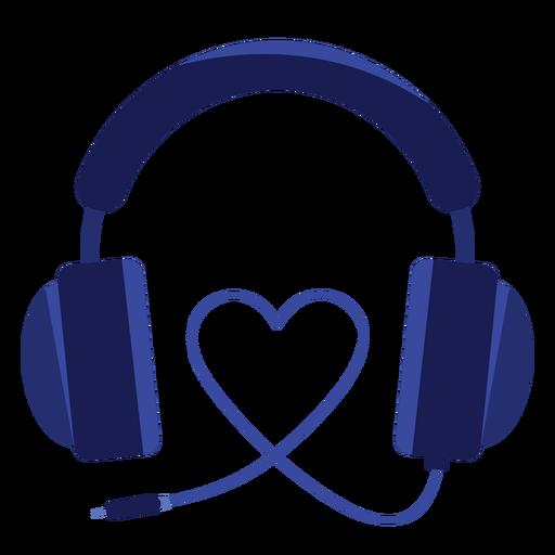 Icono de auriculares de cordón de corazón Transparent PNG