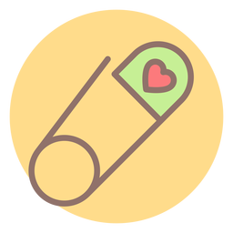 Heart safety pin circle icon