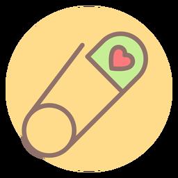 Icono de círculo de pines de seguridad del corazón