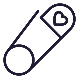 Heart safety pin stroke icon