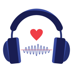 Heart sound wave headphones icon