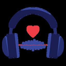 Icono de auriculares de onda de sonido de corazón