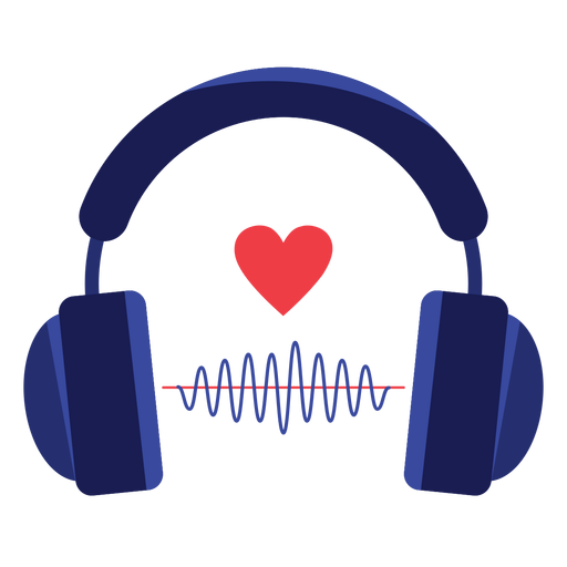 Heart sound wave headphones icon Transparent PNG