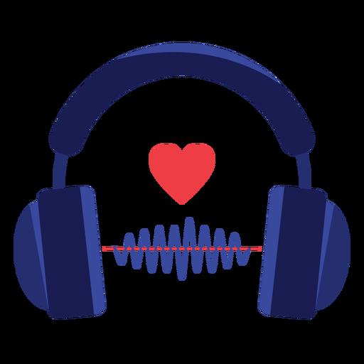 Icono de auriculares de onda de sonido de corazón Transparent PNG
